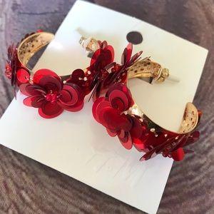 Floral Red Hoop Earrings